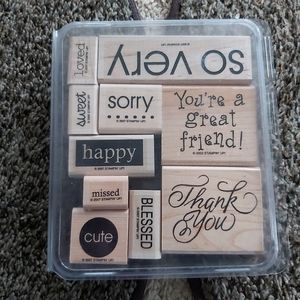 ✴THANK YOU SET OF 10 SCRAPBOOK WOODEN STAMPS
